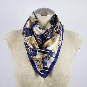 Coach Blue & Gold Silk Scarf